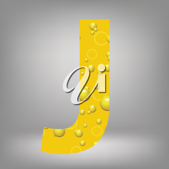 colorful illustration with beer letter J on a grey background