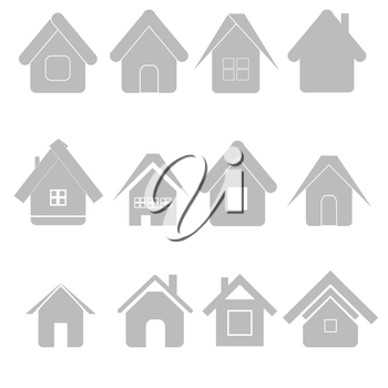 illustration with  silhouettes house set on white background