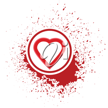 illustration  with heart icon on red blot background