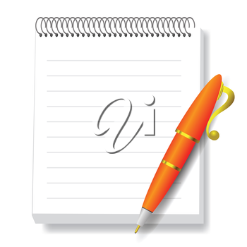 colorful illustration  with  notebook and pen  on white background