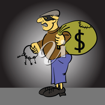colorful illustration  with  cartoon thief  on grey background