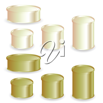 illustration  with tin cans on white background