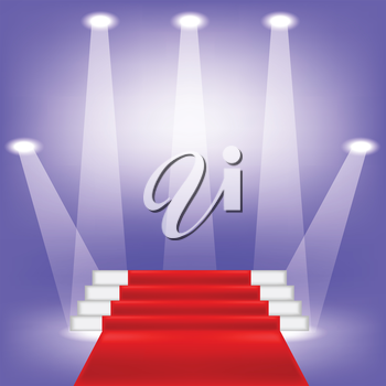 colorful illustration  with red carpet on blue background
