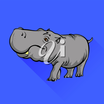 Hippopotamus Isolated on Blue Background Long Shadow.