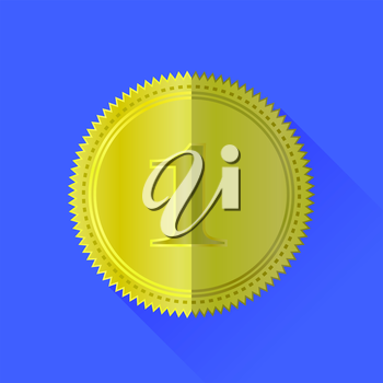 Gold Medal Icon Isolated on Blue Background