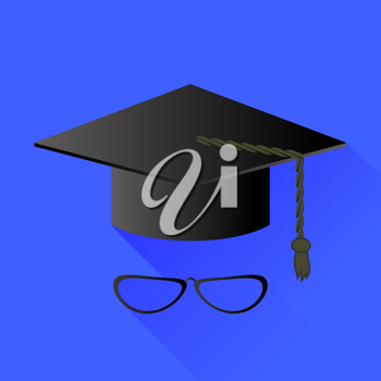 Hat and Glasses Isolated on Blue Background