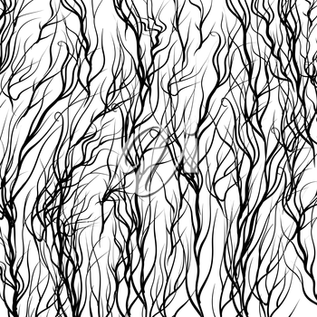 Black Trees on White  Background. Natural Pattern