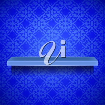 Emty Blue Shelf  on Ornamental  Blue Lines Background
