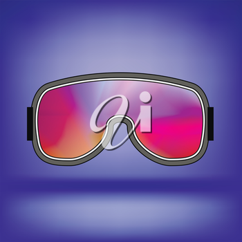 Ski Goggle with Colorful Glasses Isolated on Blue Soft Background