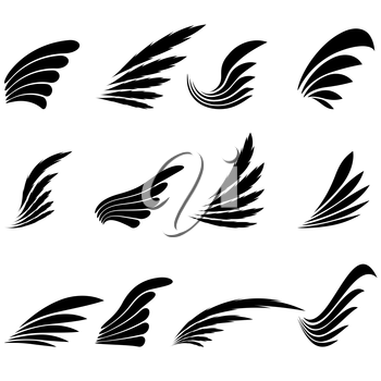 Set of Wings Icons Isolated on White Background. Wing Design Elements.