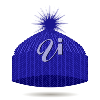 Blue Knitted Cap Isolated on White Background. Winter Hat