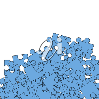 Set of Blue Pazzle  on White Background.  Jigsaw Pattern