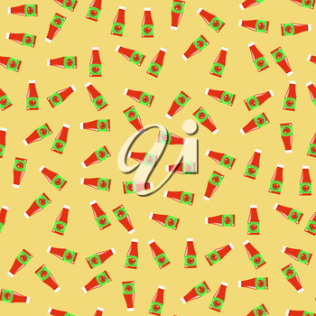 Tomato Ketchup Seamless Pattern on Yellow. Seasoning for Meat Dishes.