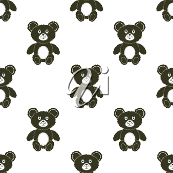 Cute Bear Isolated Seamless Pattern. Toy Background