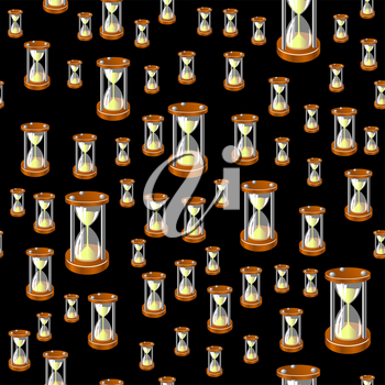 Sandclock Seamless Pattern Isolated on Black Background