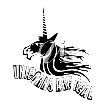 Silhouette of Magic Cute Unicorn and Lettering Isolated on White Background