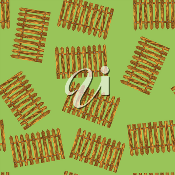 Wood Fence Seamless Pattern on Green Background
