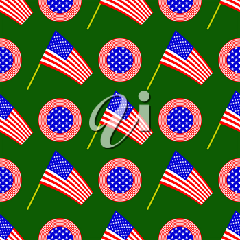 American Flag and Circle Icon Seamless Pattern Isolated on Green Background