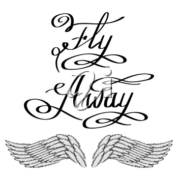 Angel or Phoenix Wings. Winged Logo Design. Part of Eagle Bird. Design Elements for Emblem, Sign, Brand Mark. Fly Away Text. Hand Drawn Motivational Lettering.