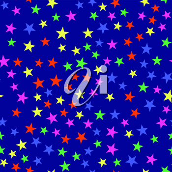 Colorful star seamless pattern on blue background