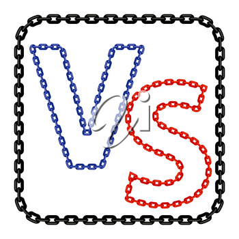 Concept of Confrontation, Standoff, Final Fighting. Versus VS Letters Fight Background with Chain