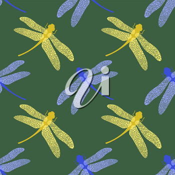 Colorful Stilized Dragonfly Isolated on Green Background. Insect Logo Design. Aeschna Viridls