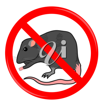 Rat Stop Sign Isolated on White Background