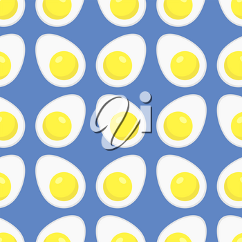 Fried Eggs Seamless Pattern on Blue Background