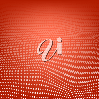 Abstract Polygonal Space. Low Poly Red Background with Connecting Dot. Big Data. Connection Structure. Grid with Dots Texture.
