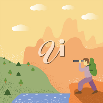 Explorer Stand Near The Like. Man with Telescope Looks on Forest. Concept of Travel, Discovery, Hiking, Adventure Tourism and Exploration. Traveller with Green Backpack.