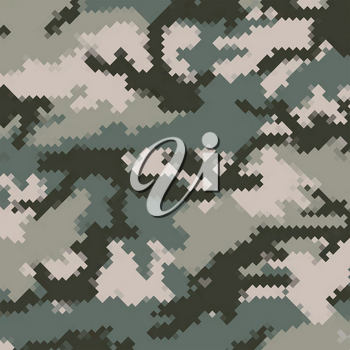 Urban Camouflage Background. Army Abstract Modern Military Pattern. Green Pixel Fabric Textile Print for Uniforms and Weapons.