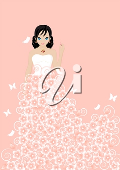 girl in a flower dress on pink background