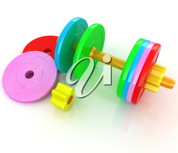 Colorful dumbbells are assembly and disassembly on a white background