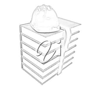 Stack of leather technical book with belt and hard hat on white background