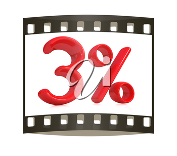 3d red 3 - three percent on a white background. The film strip