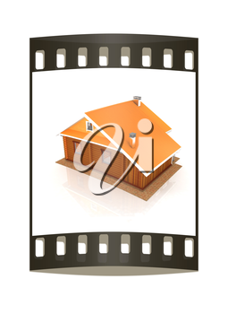 Wooden travel house or a hotel on a white background. The film strip