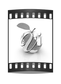 Apple for earth on a white background. The film strip