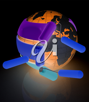 Rollers brushes paints around planet Earth. Concept of 3d printing