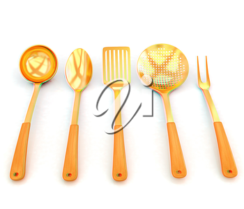 gold cutlery on white background . 3D illustration. Anaglyph. View with red/cyan glasses to see in 3D.