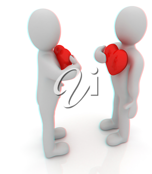 3d mans holding his hand to his heart. Concept: From the heart . 3D illustration. Anaglyph. View with red/cyan glasses to see in 3D.