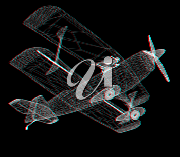 retro airplane isolated on black background . 3D illustration. Anaglyph. View with red/cyan glasses to see in 3D.