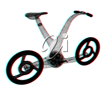 3d modern bike concept. 3D illustration. Anaglyph. View with red/cyan glasses to see in 3D.