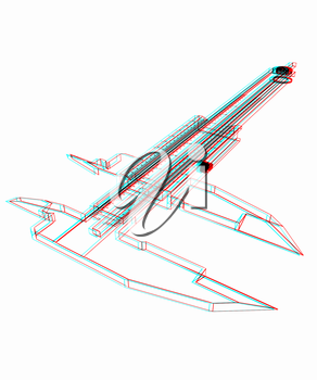 Vernier caliper. 3D illustration. Anaglyph. View with red/cyan glasses to see in 3D.