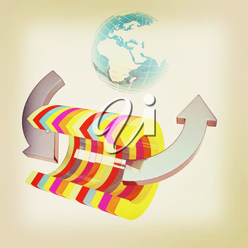 3d colorful abstract cut pipe and Earth on a white background. 3D illustration. Vintage style.