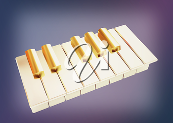 Piano on a blue background. 3D illustration. Vintage style.
