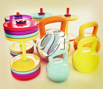 Colorful weights and dumbbells and earth. Global on a white background. 3D illustration. Vintage style.