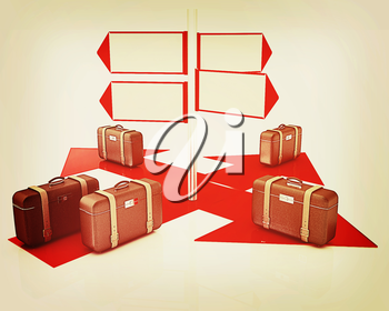 The concept of distribution of luggage at the airport on a white background. 3D illustration. Vintage style.