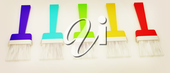 Colorful paint brushes on a white background. 3D illustration. Vintage style.