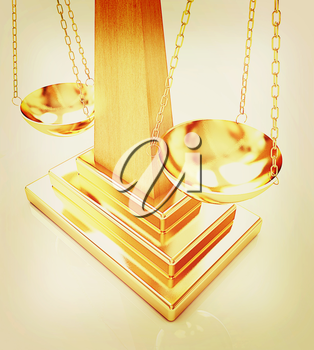 Gold scales on a white background. 3D illustration. Vintage style.