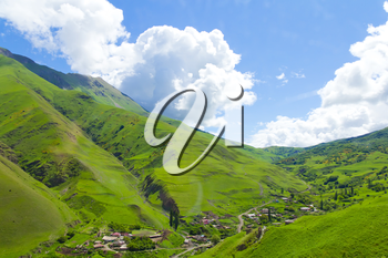 Summer landscape with Russian Caucasus green mountains